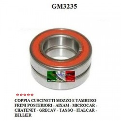 PAIR OF BEARINGS HUB AND DRUM REAR BRAKES AIXAM MICROCAR CHATENET BELLIER TASSO ITALCAR GRECAV